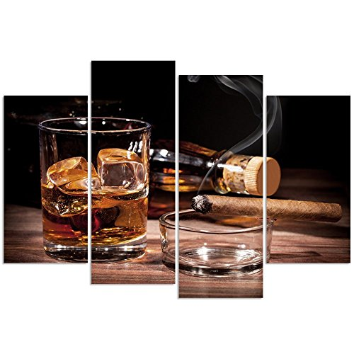 (sechars - 4 Panel Modern Canvas Wall Art for Wall Whisky and Cigarette Picture Poster Print for Home Kitchen Bar Pub Western Decor Liquor Wall Art with Wood Frame Ready to Hang)