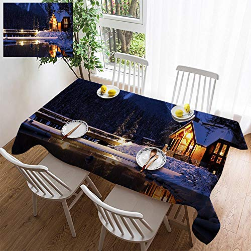 (HOOMORE Simple Color Cotton Linen Tablecloth,Washable, Entering a Magical Winter Wonderland Decorating Restaurant - Kitchen School Coffee Shop Rectangular 86×54in)