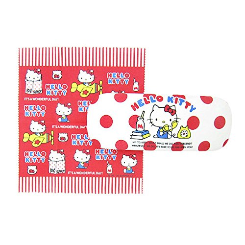 Glasses case Hello Kitty Sanrio mascot character Case & Cross with Spring-loaded Square Type Hard WH Up vintage