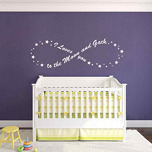 BATTOO I love you to the moon and back Infinity Stars Wall Decal Sticker Bedroom Wall Decal Baby Nursery Wall Decal Infinity Wall Art Sticker(White, 7
