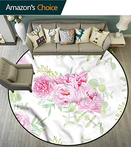 RUGSMAT Shabby Chic Rug Round Home Decor Area Rugs,Serenity Garden Theme Circular Area Rugs for Kids Bedroom - Serenity Small Rug