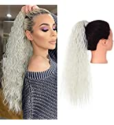 SARLA Clip in Ponytail Hair Extension Fluffy Long Curly Wavy Synthetic Wrap Around Hairpiece for ...