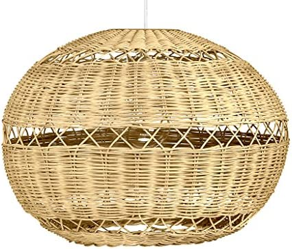 KOUBOO 1050073 Open Weave Wicker Ball Pendant Lamp, 19.25 x 19.25 x 14.25 , Natural Brown