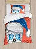 Ambesonne Yorkie Duvet Cover Set Twin Size, Terrier with a Blue Santa Hat and Mirror Aviator Glasses Fun Hand Drawn Animal, Decorative 2 Piece Bedding Set with 1 Pillow Sham, Coral White Blue