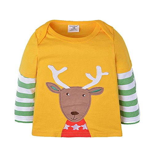 Uudora Baby Boy and Girl Elk Embroidery Casual Long Sleeves T-Shirts 1-6Y