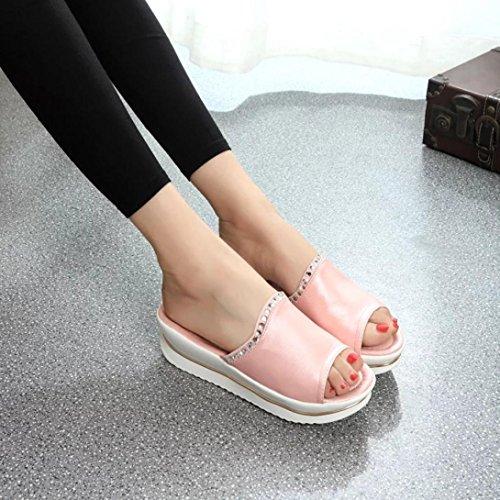 Rcool Sommer Komfort Sandalen Hausschuhe Frauen Plattform Sandalen Schuhe ZehentrennerSchuhe Rosa