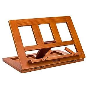 HALOViE soporte para libro Tablet iPads Book Holder Atril de lectura ajustable y plegable de madera 34 * 23.5 * 2.8cm