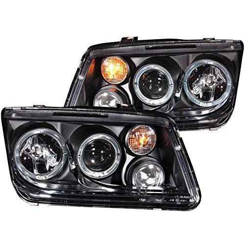 AnzoUSA 121369 Black/Clear Halogen Projector Headlight for Volkswagen Jetta
