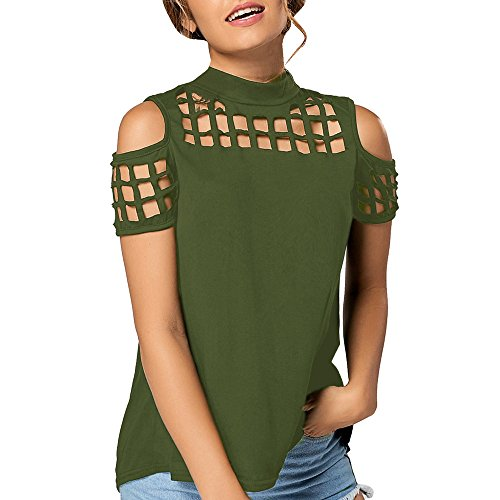 Tsmile Summer Women Fashion Short Sleeve Tops Off Shoulder Hollow Out Loose Fit Casual T-Shirt Slit Blouse Army Green