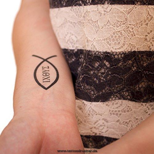 5 x Ichthys Fisch Tattoo - Christian Symbol - ΙΧΘΥΣ (5)