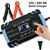 with LCD Screen and Have 6 Charging Mode 12V//24V 8Amp Automatic Smart Battery Charger//Maintainer Delivers 3 Stage Charging Suitable for More Types of Batteries NewSoul1us Car Battery Charger