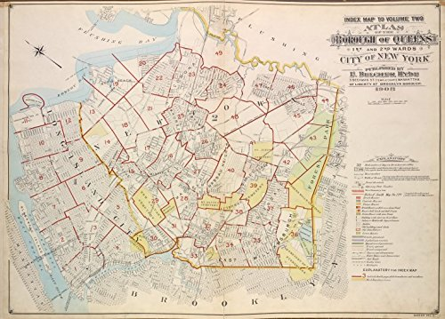 Historic 1908 updated to 1913 Map | Index Map to Vol. 2, Atlas of the Borough of Queens, 1st and 2nd | Flushing (New York, N.Y.)Atlases of New York City - Map Ny Flushing