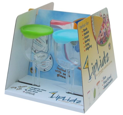 LipLidz ~ 13 oz Wine Glass w/Attachable Drink-thru Lid (4 Pack). Great for Boating, RVing, Lake, Beach, Gifts, Wedding, Can Logo, dishwasher safe, 100% Tritan Plastic/BPA Free - FUN. Made in USA!]()