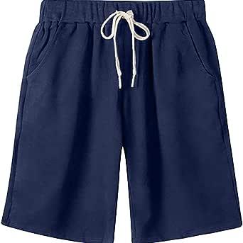 Women's Elastic Waist Short with Pockets Soft Knit Jersey Bermuda Shorts with Drawstring
