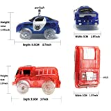 THREE BEARS Track Cars Light Up Police Car and Fire Truck with 5 Fashing LED Lights Compatible with Most Tracks(pack of 2)