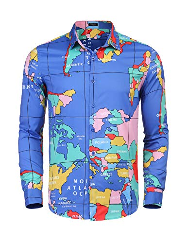 COOFANDY Men's Long Sleeve World Map Printed Casual Button Down Dress Shirt For Party, Club,Wedding,Costume,Vacation, Blue, Small]()