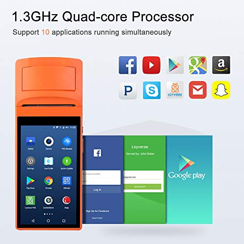 [Update 2.0] Android 6.0 POS Terminal MUNBYN Receipt Printer with 3G WiFi BT and Camera to Read 1D & 2D QR Code Support Loyverse iREAP and CashStock Pos Software for Business Receipt Printing by MUNBYN (Image #1)