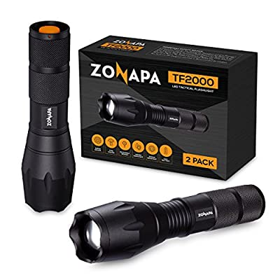 ZONAPA Tactical LED Flashlight (2-Pack) 5 Ultra-Bright Lighting Modes Strobe, SOS | Indoor, Outdoor Emergency, Camping, Hiking, Security | Waterproof, Zoomable