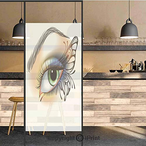 3D Decorative Privacy Window Films,Fantasy Womans Eye Make Up Butterfly Wing Vibrant Colors Eyelashes Female Looking Decorative,No-Glue Self Static Cling Glass film for Home Bedroom Bathroom Kitchen O -