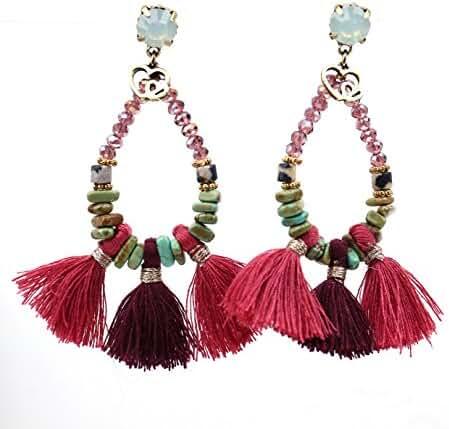Badu Turquoise Earrings Tassel Waterdrop Crystal Love Jewelry Bohemian ( Double Love)