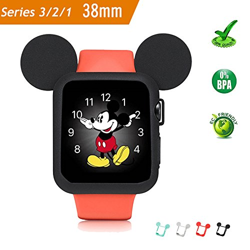 8MM Series 3/Series 2/Series 1 Sport/Edition/Nike Soft Silicone Protective Cover for Cartoon Mouse Ears Apple Watch Case (Black) ()