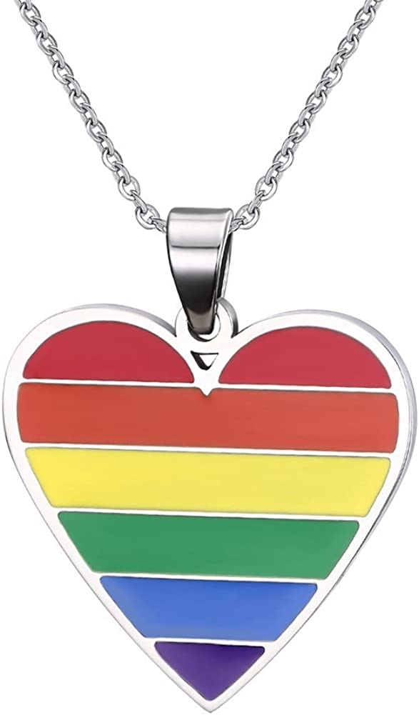 Stainless Steel Love Heart Pendant Necklace Gay Pride Lesbian Rainbow Flag Jewelry