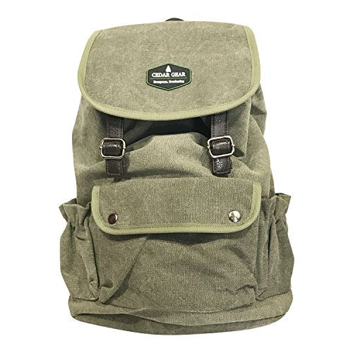 - Cedar Gear Classic Canvas Backpack for Hiking Camping Backpacking Trekking (Dark Green)