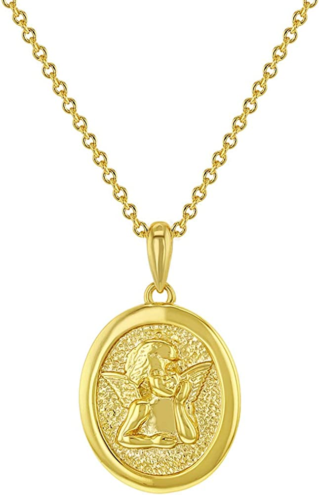 medal necklace medallion necklace 14K  GOLD PLATED oval guardian angel medal pendant necklace angel necklace religious necklace