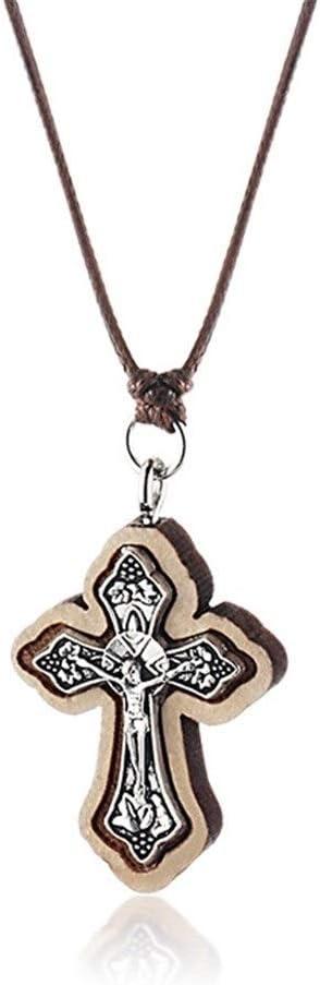 LUOSI Jesús Religiosa joyería Medieval de Madera Colgante de la Cruz de Jerusalén y NecklacesFor Mujeres Naturales Cadenas Collar de la Cuerda de la Madre Regalo Collares (Metal Color : Brown)