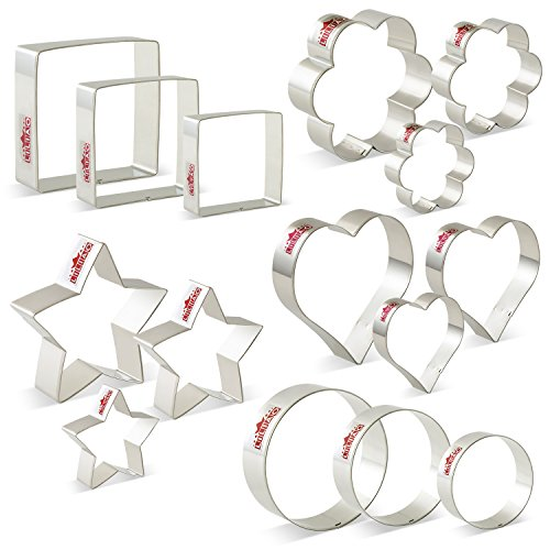 LILIAO Basic Cookie Cutters Set Round Biscuit Bread Fondant Cutters - 15 Piece - Stars, Hearts, Circles(Round), Flowers, Squares - Stainless Steel by LILIAO