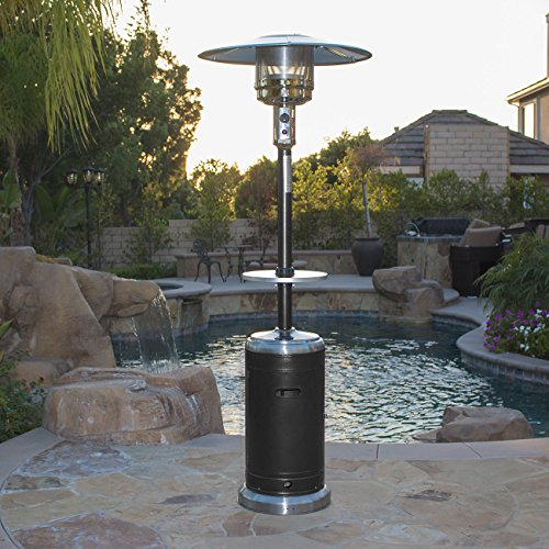 Belleze Commercial Patio Heater Propane Heat with Table & Wheels (48,000 BTU) -Black