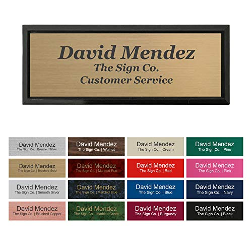 "Custom Name Badge Identification tag with Magnetic or pin Backing. Personalized - 1"" x 3"" - Square Corners - 3 Lines with Badge Frame Holder"