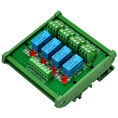 (Electronics-Salon DIN Rail Mount 4 DPDT Signal Relay Interface Module, DC 12V Version.)