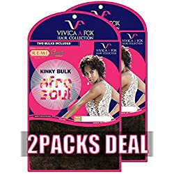 "[2PACKS DEAL] VIVICA A FOX 100% HUMAN HAIR REMI AFRO SOUL KINKY BULK 16"" - HKBK16-V (1B)"