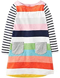 Girls Cotton Longsleeve Casual Dresses Applique Cartoon...