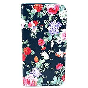 DUR Black Rose Flower Pattern PU Leather Full Body Case with Card Slot for Samsung Galaxy S5 Mini