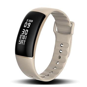 SLGJYY Smart Pulsera Tensiómetro de frecuencia Cardíaca Smart Desgaste Cámara Resistente al Agua Bluetooth Deporte Pulsera Salud Pulsera, Color Gris Claro: ...