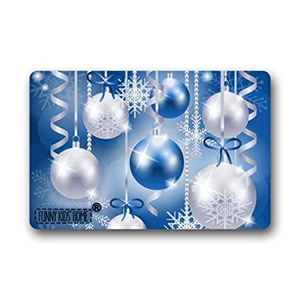 L x 15.7 W New Arrival Christmas Doormats Inch Funny Kids/' Home e0620 Gorgeous Blue and Silver Garland Balls X-mas Decorations Custom Personalized Durable Machine-washable Indoor//outdoor Door Mat 23.6