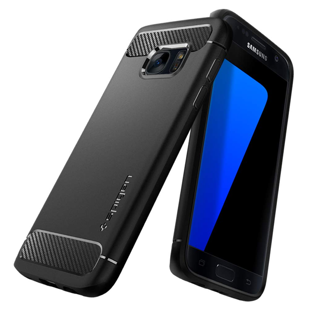 3098cb1319999a Spigen Galaxy S7 Case [Rugged Armor] Original Patent Carbon Fiber Design  Galaxy S7 Cover Shock Absorption - 555CS20007 [Black]