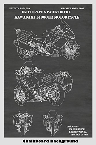 (Kawasaki 1400 GTR Motorcycle Patent Print Art Poster: Choose From Multiple Size and Background Color Options)