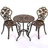 Patio Garden Furniture Sets Patio Furniture Tulip Design Cast Aluminum Bistro Set in Antique Copper