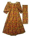 Decoraapparel Womens African Dress Traditional Dashiki Maxi Caftan Cotton Kaftan One Size (Orange Green Wine P03)