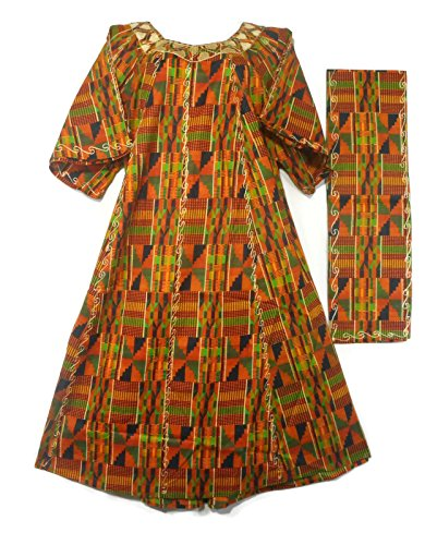 Decoraapparel Womens African Dress Traditional Dashiki Maxi Caftan Cotton Kaftan One Size (Orange Green Wine P03) by Decoraapparel