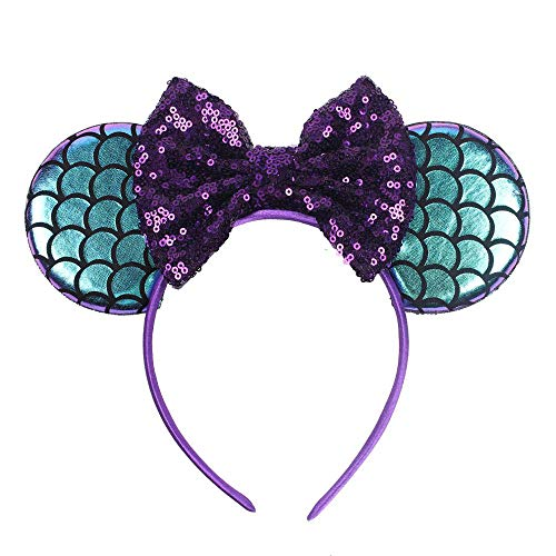 Mermaid Ear Headbands Sequin Bows Diy Hair Accessories For Kids Trendy Headwear Femme 2
