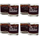 Movies On Glass - Premium Etched Set of Four The Godfather Movie Whiskey Glasses With Four Unique Quotes