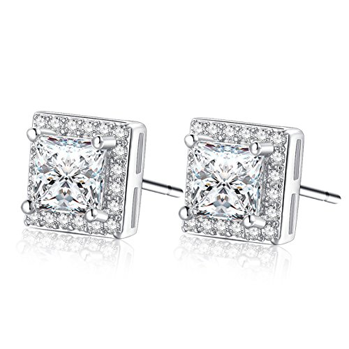 d Plated CZ Cubic Zirconia Square Princess Cut Studs Earrings Cushion Shape Halo 1 carats- Mens Womens Children Fashion Jewelry (ED-91) (Silver, 7mm) ()