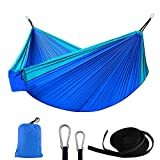 ANKND Outdoor Camping Hammock - Portable Nylon Parachute Lightweight Hammocks Anti-fade Nylon Single & Double Hammock with Tree Straps - Parachute Lightweight Hammock(Blue)