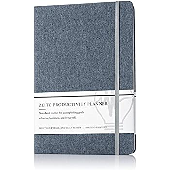 Zeito Productivity Planner - Non-dated Monthly, Weekly, and Daily Agenda Planner for Increasing Motivation, Accomplishing Goals, and Living Well - Minimalist Planner and 100% Eco-friendly