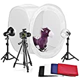 """Neewer Table Top Round Photography Studio Tent Lighting Kit:32x32""""/80x80cm Round Light Folding Tent+Colored Internal Backgrounds+18""""/45cm Light Stands+Day-Light Bulbs+Adjustable 50""""/127cm Tripod"""
