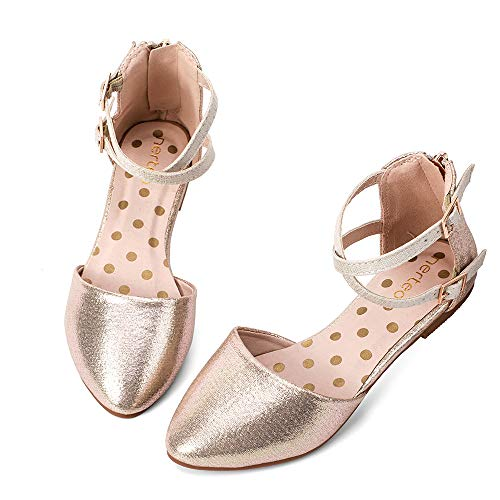 Kids Dress Sandals - nerteo Girl's Pretty Glitter Ballet Flats Ankle Strap Dress Shoes Sandals (Toddler/Little Kid/Big Kid) Gold 11 M US Little Kid